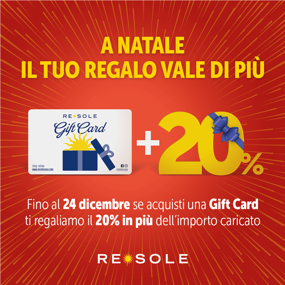 Da Re Sole +20% per acquisto GIFT CARD e tante IDEE REGALO!